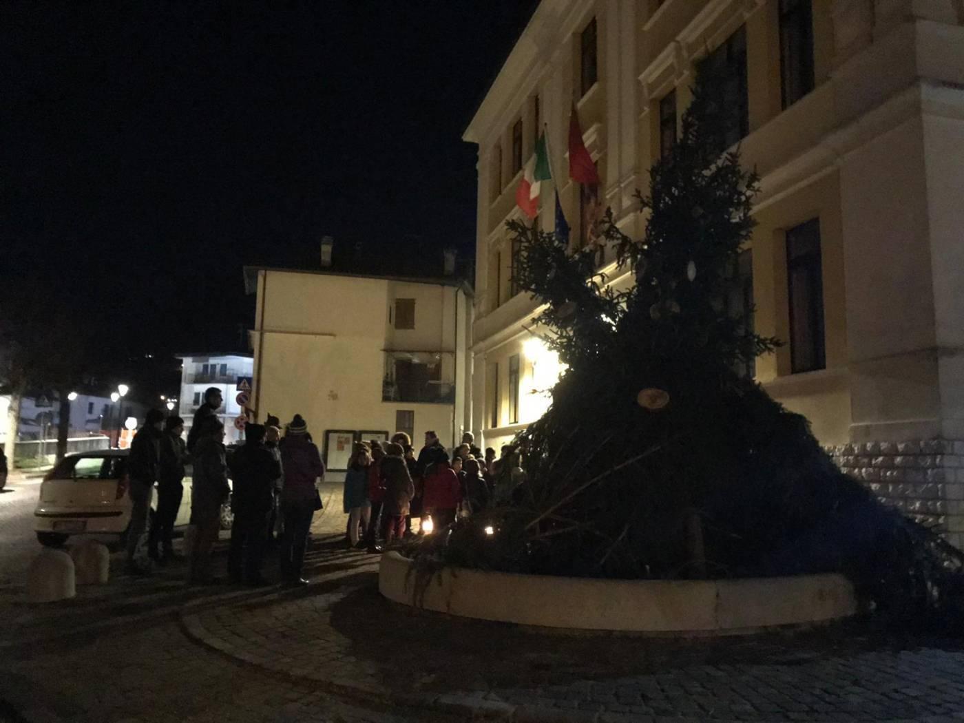 L'Albero di Natale di Pedavena realizzato con gli alberi caduti durante l'emergenza maltempo