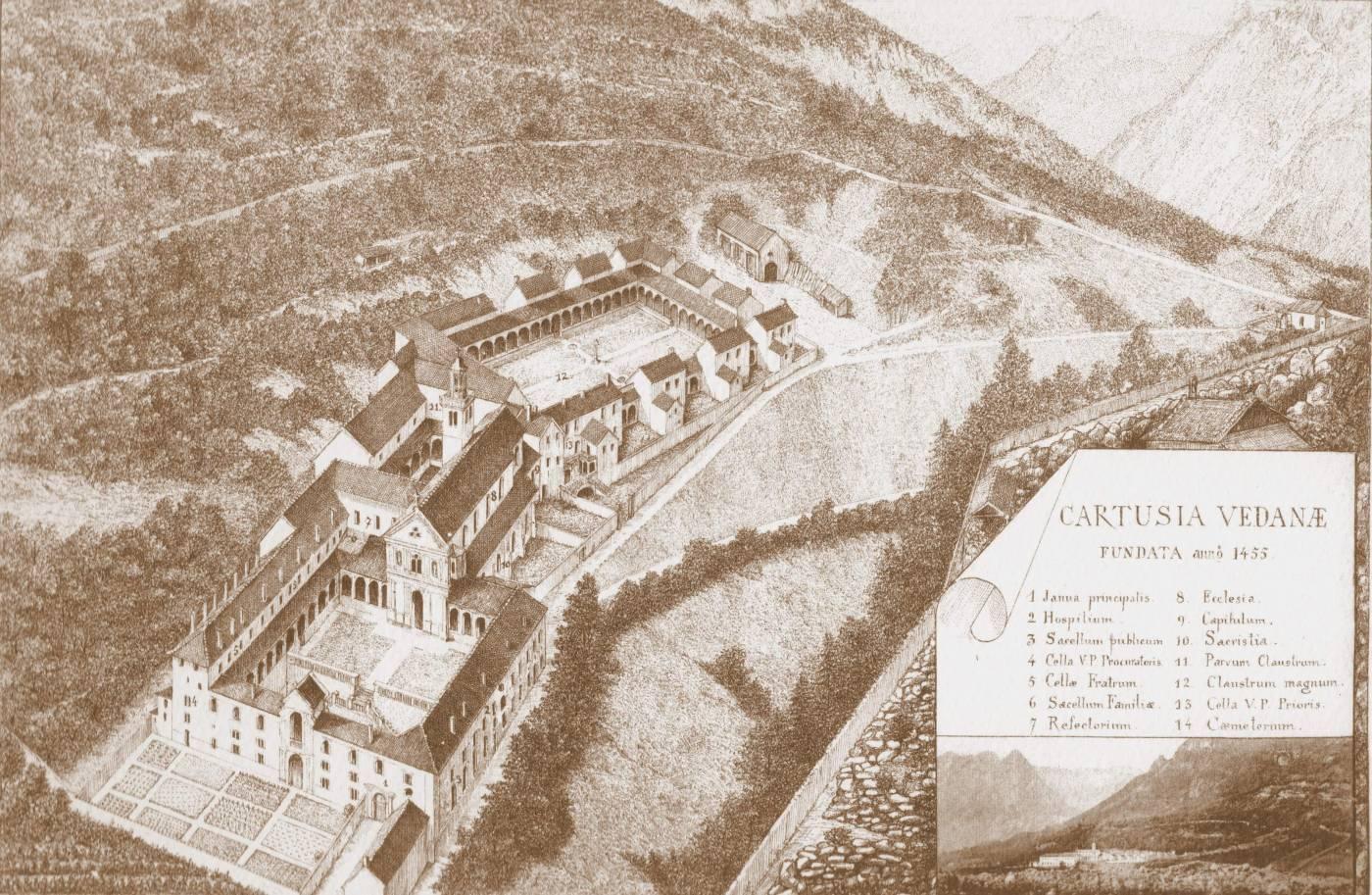 Foto storica - la certosa di Vedana (stampa)